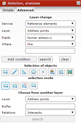 Selection and analyses widget